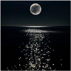 Full Moon shinning high in the sky over the water, lighting up the night skies and shinning, sparkling in the water. Love this!!