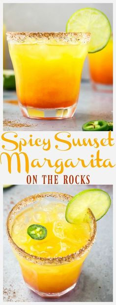 Spicy Sunset Margarita on the Rocks. This smooth cocktail is fruity, fiery and perfect for Cinco de Mayo & Summer!