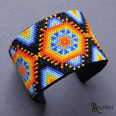 Huichol inspired colorful beaded peyote rigid by Anabel27shop  #beadwork #beading #beadweaving #crafts #huichol #native american #jewelry #ethnic #peyote #bracelet