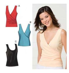 Tops Kwik Sew K3497 v-neck wrap blouse would be a good layering piece under a lightweight knit cardigan or a jacket.