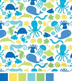 Blue, Green and Yellow Sea Creatures (seamless, repeating) pattern design. ©ankepanke http://iheartpatterns.nl
