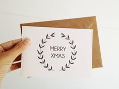 Christmas Card Hand Lettering Merry Xmas Holiday Folded Card Wreath Illustration Minimal Design
