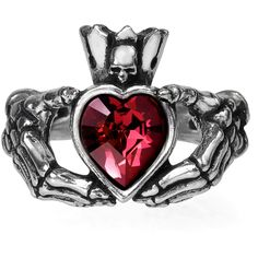 Inked Boutique - Claddagh By Night Ring (This design also available on a bracelet or chocker necklace!) Skeleton Hands Heart Punk Goth www.inkedboutique.com