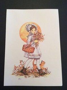 Buzza-Dear-Hearts-Vtg-Notecards-1-4-Fold-Girl-Cat-Picnic-Basket-Flowers-Bonnet