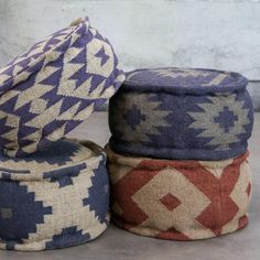 These pouffes would look lovely against the bleached wood interior of a ski chalet.