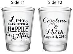 Shot Glass Wedding Favors 1.5oz Glass Shot Glasses Love, Laughter & Happily Ever After Custom Personalized Wedding Favor Ideas by Factory21 on Etsy