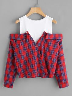 Cheap plaid top, Buy Quality open shoulder directly from China long sleeve blouse Suppliers: ROMWE Open Shoulder Check 2 In 1 Shirt Tunic Vogue Blouse Women Red Button Plaid Top Fall 2017 Long Sleeve Lapel Blouse Style Outfits, Teen Fashion Outfits, Cute Casual Outfits, Girl Fashion, Fashion Dresses, Casual Shirts, Teen Winter Outfits, Ootd Fashion, Fashion Styles