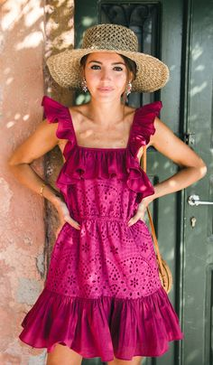 summer outfits Purple Ruffle Eyelet Dress