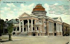 First Baptist Church New Orleans Bourbon Street, Shreveport Louisiana, French Quarter, Vintage Postcards, Taj Mahal, Louvre, Mansions, History, House Styles