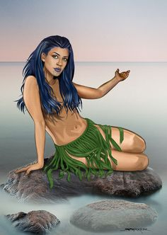 Pania was a woman of the sea and one day she meet a man of the land, Karitoki, whom she married. They lived near Napier breakwater. But the sea people were forever calling her. She swam out to meet them, just once, never to return. Finish the story.