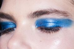 victoria beckham • ss2017 • makeup by pat mcgrath: blue, shimmery eyeshadow @Coveteur