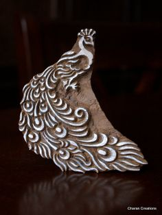 Hand Carved Indian Wood Textile Stamp Block- Peacock. $18.75, via Etsy.