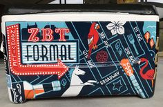 Painted frat cooler #nashville #formal #zbt Sorority Canvas, Sorority Paddles, Sorority Crafts, Sorority Recruitment, Ato Cooler, Nola Cooler, Fraternity Coolers, Frat Coolers, Formal Cooler Ideas