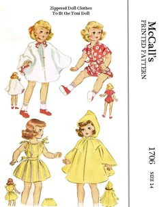 Mccalls 1706, reproduced pattern, for 14 inch doll, toni doll. all pieces included.