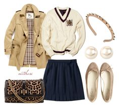 """""""Preppy and cool School Outfit"""" by natihasi ❤ liked on Polyvore featuring Burberry, Anniel, Christian Louboutin, Valentino, ELSE, Nina, women's clothing, women, female and woman"""