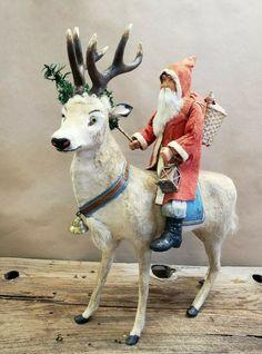 Vintage German Santa on Reindeer Candy Container Glass Christmas Tree Ornaments, Christmas Deer, Antique Christmas, Father Christmas, Vintage Christmas Cards, Christmas Decorations, Merry Christmas, Vintage Candy, Vintage Santas