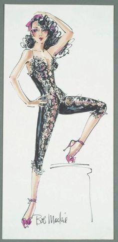 "Felt pen on paper, sketch of a circa ensemble, signed ""Bob Mackie. World Of Fashion, Fashion Art, Fashion Outfits, Fashion Design, Ballet Fashion, Vintage Fashion, Dress Sketches, Fashion Sketches, Fashion Illustrations"