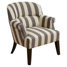 Arm chair with striped upholstery and tapered legs.  Product: ChairConstruction Material: Fabric and wood