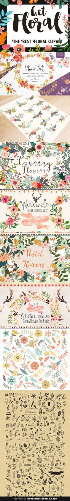 The best floral clipart for identity, branding, wedding invitations...  #flowers #botanical