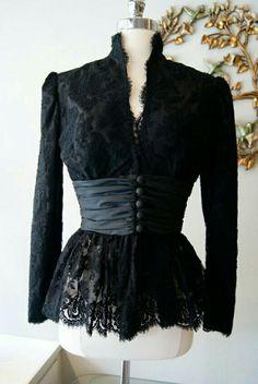 Items similar to Vintage Black Lace Jacket by Travilla Bellissima Las Vegas Size M on Etsy Kebaya Lace, Kebaya Dress, Black Lace Jacket, Lace Dress Black, Dress Lace, Trendy Dresses, Fashion Dresses, Casual Dresses, Vintage Dresses