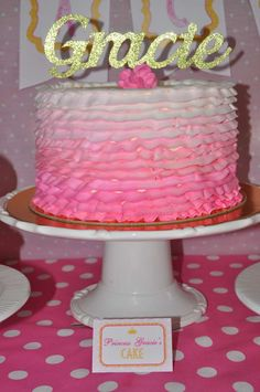 Ombre ruffle cake at a pink and gold birthday party! See more party ideas at CatchMyParty.com! Pink And Gold Birthday Party, Gold Party, 1st Birthday Girls, Diy Birthday, Birthday Cakes, Birthday Parties, Pink And Gold Dress, Girl Birthday Decorations, Bridal Shower Cakes