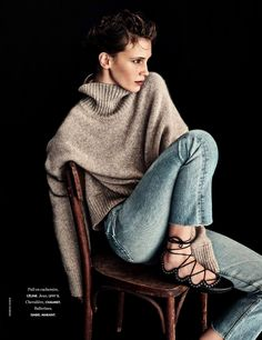 Lived in jeans, cozy sweater and Highland dancing-inspired ballet flats [Marine Vacth by Andreas Sjodin]