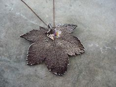 Real Leaf Necklace Pendant Jewelry  Full Moon Maple   by Jeunebugs