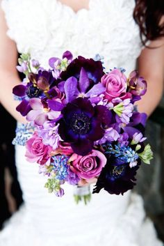 Orchid Wedding Bouquets in Brilliant Colors - via Intimate Weddings