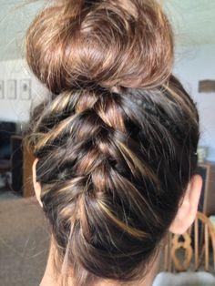 Upside down braid and ballerina bun!