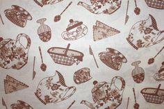 BAVLNĚNÁ PLÁTNA | kuchyňské vzory, levandule | Hnědé konvičky | LÁTKY METRÁŽ | PATCHWORK | GALANTERIE