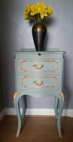 Rococo Louis French bedside cabinet in Annie Sloan