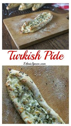 Pide: A savory Turkish bread baked with a variety of ingredients. Try some feta, mozzarella, and parsley. You can add tomato, spinach, egg or ground seasoned lamb if you like. Turkish Recipes, Greek Recipes, Ethnic Recipes, Romanian Recipes, Scottish Recipes, Middle East Food, Middle Eastern Recipes, Spinach Egg, Spinach Recipes