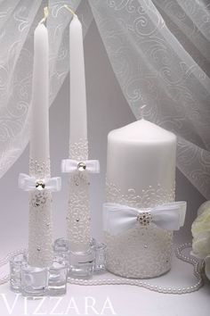 Items similar to GORGEOUS Wedding unity candle set in pearl ivory and white, beautiful unity ceremony set, wedding reception on Etsy Big Candles, Wedding Unity Candles, White Candles, Pillar Candles, Unity Ceremony, Hanging Candles, Floating Candles, Wedding Cake Server, Wedding Boxes