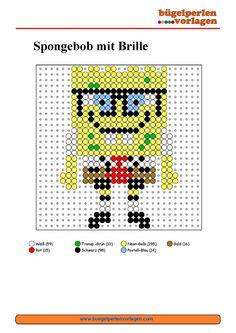 SpongeBob mit Brille Bügelperlen Vorlage - perler bead pattern