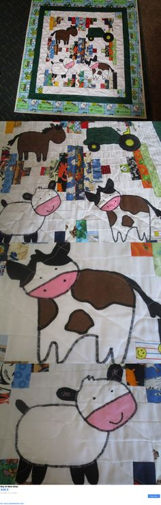 Quilts And Coverlets: John Deere Green Baby Boys Handmade Quilt/Blanket With Tractors And Farm Animals BUY IT NOW ONLY: $58.0 #ustylefashionQuiltsAndCoverlets OR #ustylefashion