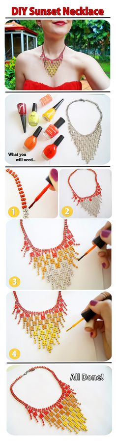 Use nail polish to upcycle old costume jewelry & give it new life.