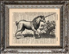 New to EcoCycled on Etsy: Unicorn 2 on Vintage Upcycled Dictionary Art Print Book Art Print Recycled Mythical Beast (10.00 USD)