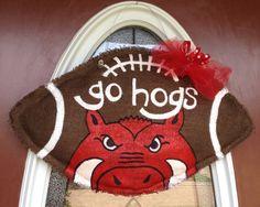 Arkansas Razorbacks Burlap Football Door Hanger by Breazeale.
