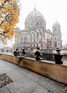 Berlin - Germany 4 bathers statue across from museum mile..
