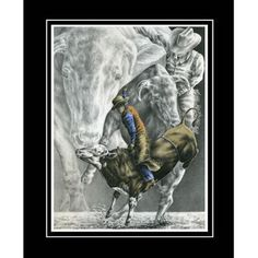 Cowboy Bull Rider Rodeo Art  Lmtd Ed Print signed and by kelliswan, $39.00