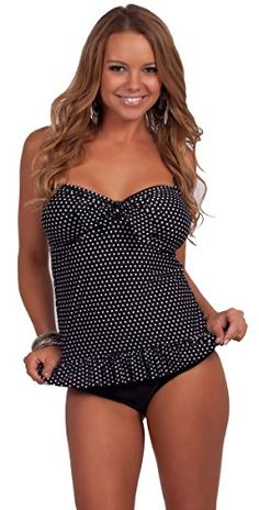 018e6bce1ec Apparel: HOT FROM HOLLYWOOD Womens Printed Sweetheart Ruffle Tankini Two  Piece Low Rise Bikini Swimsuit