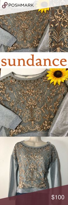 """Sundance Bronze Lace & Bead Gray Crop Sweatshirt This classic gray cropped sweatshirt by Sundance features an embroidered mesh appliqué on the front with beaded embellishment. The sleeves, neck, and waist are finished with ribbed bands. The back is slightly longer than the front. Women's medium, bust (pit to pit, flat lay): approximately 22.5"""", length: approximately 20"""". Knit: 100% cotton, mesh: 100% nylon, exclusive of decoration. Sundance Tops Sweatshirts & Hoodies"""