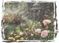 lluvia y jardín