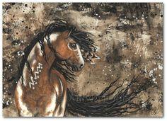 Majestätische Pferde - Pinto Native Federn - Kunstdrucke von Bihrle mm61