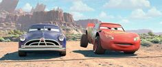Doc Hudson and Lightning McQueen get ready to race