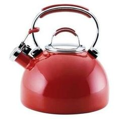 KitchenAid Empire Red Tea Kettle – Comfortable silicone accented handles and tough porcelain exterior make this easy-to-clean KitchenAid kettle a kitchen essential. This bold red tea kettle features a strong whistle and capacity Red Kitchen Appliances, Kitchen Gadgets, Kitchen Tools, Kitchen Stuff, Kitchen Products, Kitchen Items, Hygge, Kitchenaid Kettle, Kitchen Essentials