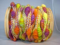 Kathryn Benavides, hand spun yarn,  Tutti Fruiti Coils