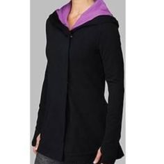 Lululemon Awareness Savasana Wrap with Hoodie Like new condition. Lululemon wrap, size 6. This is a reposh because I ended up not wearing it once so I figured someone else would appreciate it more than me as it is a fabulous jacket! Interior is dip dyed purple! No pilling or wear. lululemon athletica Jackets & Coats