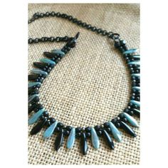 Check out this item in my Etsy shop https://www.etsy.com/listing/251571136/turquoise-fan-necklace-turquoise-and