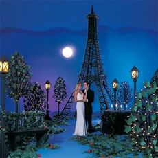Create a romantic theme with a Paris at night theme.